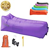6 person chair - Gaduge Outdoor Inflatable Lounger & Pool Chair, Hangout Sofa & Inflatable Couch for Bedroom, Floats on Water - Includes Pockets, Comfy Headrest, Bottle Opener, Stake & Bag(Lavender)