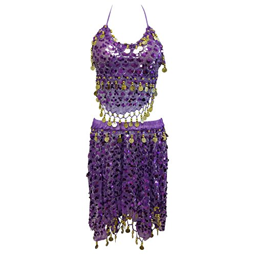 (New Gold Tribal Sequins Mermaid Scale Belly Dance Costume Hip Scarf Shawl Set)