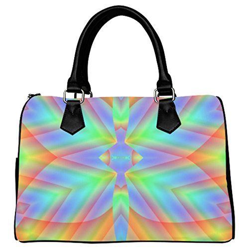 Jasonea Women Boston Handbag Top Handle Handbag Satchel Abstract Rainbow Butterfly Basad130204