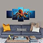 Meigan Art- 5 Pieces Deep-sea Octopus Wall Art Painting The Picture Print On Canvas Animal Pictures for Home Decor… 8