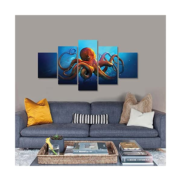 Meigan Art- 5 Pieces Deep-sea Octopus Wall Art Painting The Picture Print On Canvas Animal Pictures for Home Decor… 5