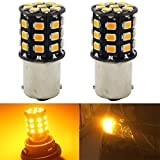 2-Pack 1156 BA15S 1156NA 7506 1141 1003 1073 Extremely Bright Amber / Yellow LED Light 600Lums, 12-24V-DC, AMAZENAR 2835 33 SMD Car Replacement Turn Signal Light Lamps Tail BackUp Bulbs