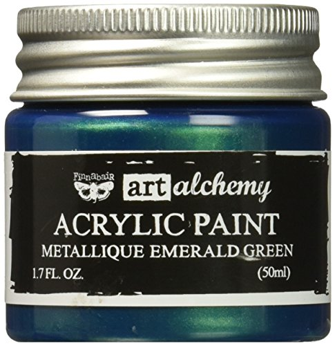 Prima Marketing 963170 Finnabair Art Alchemy Acrylic Paint, 1.7 fl. oz., Metallique Emerald Green