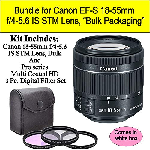 Bundle for Canon EF-S 18-55mm f/4-5.6 is STM Lens (White-Box)