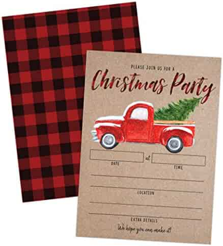 Rustic Christmas Party Invitation with Red Truck and Christmas Tree, Holiday Party Invite, Christmas Party, Holiday Party Invitations, 20 Fill in Invitations and Envelopes