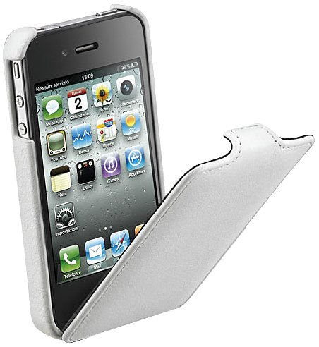 Cellular Line FLAPIPHONE4W Klapptasche für Apple iPhone 4 weiß