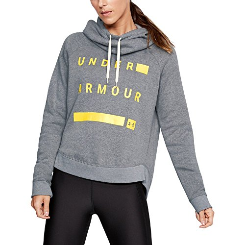 Under Armour Women's Favorite Fleece Pullover Graphic Hoodie, Steel Light Heather (035)/Tokyo Lemon, Large
