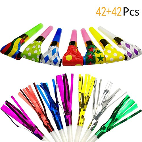 Muhuyi 84 Pcs Two Kinds of Party Blowers Noisemakers Fun Musical Blow Outs Party Favors -