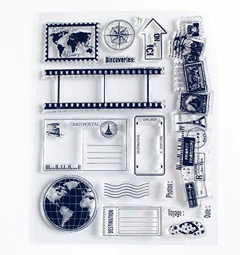 Scrapbook Ink Rubber Clear Stamp Set for DIY Card Making (Travel World)