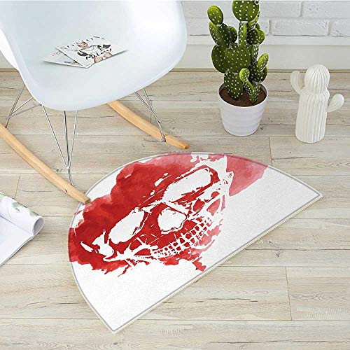 Horror House Semicircular CushionSkull Head in Watercolor Style Brush Stroke Gothic Skeleton Splash Voodoo Paint Entry Door Mat H 43.3