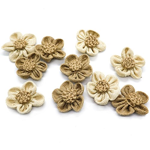 JETEHO Handmade 10 Pieces Handmade Burlap Flowers for DIY Craft Making and Home Wedding Party Decorations]()