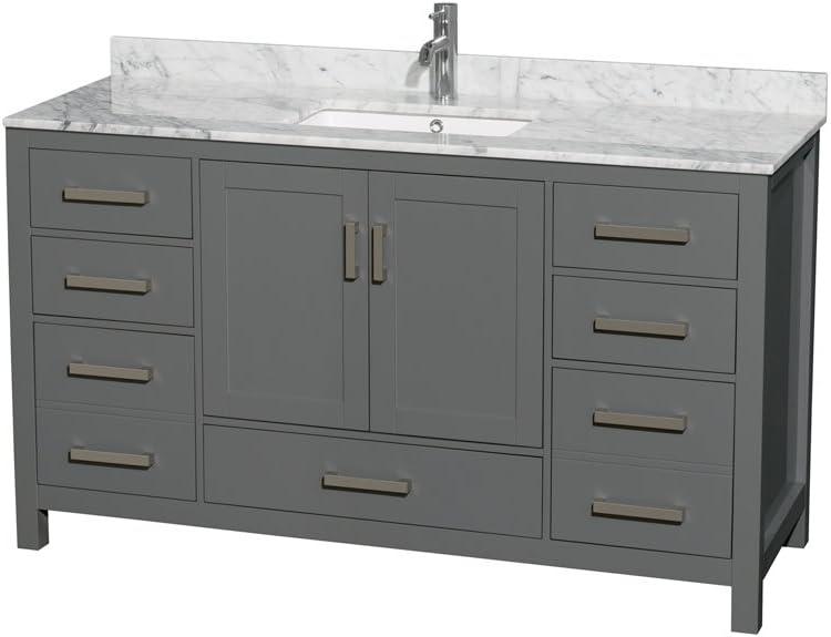 Wyndham Collection Sheffield 60 inch Single Bathroom Vanity in Dark Gray, White Carrara Marble Countertop, Undermount Square Sink, and No Mirror