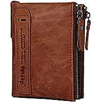 Men's Wallet, Minimalist Vintage Cowhide Leather Wallet With zipper pocket for men