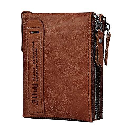 Men's Wallet, Minimalist Vintage Cowhide Leather Wallet With zipper pocket for men (Brown)
