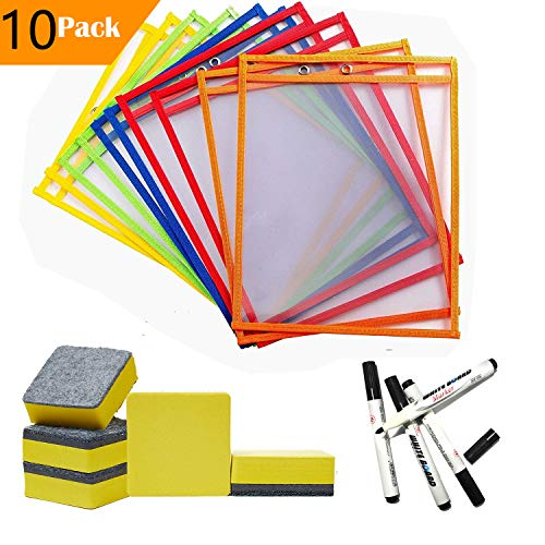 Dry Erase Pocket Sleeves Sheets/w Mini Dry Erasers Cleaner & Black Dry Erase Markers (Packet of 10) ()