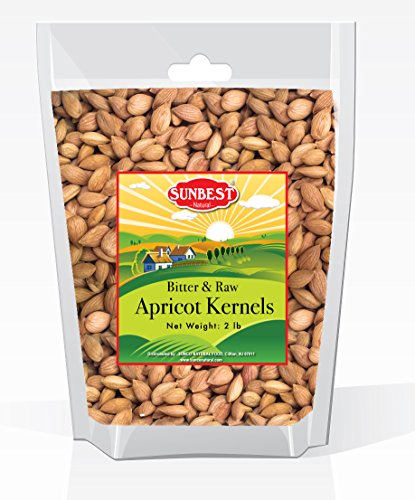 Sunbest Sun Dried, Bitter Raw Apricot Kernel, Unshelled, in Resealable Bag,New Crop, Non GMO-Vegan &Kosher -32 Ounce (2 Lb)