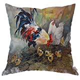 Moslion Throw Pillow Cover Case Cock Hen and Chicks Watercolor Art Chicken Family