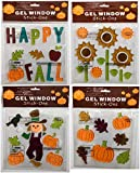Fall Harvest Gel Window Clings Decoration Pumpkins Scarecrow Leaves Sunflowers Set of 4