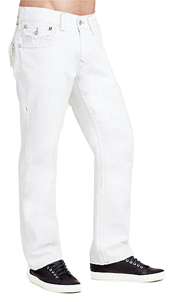 e170d02b6 Top1  True Religion Men s Straight Ascot Grey Stitched Jeans in Optic White