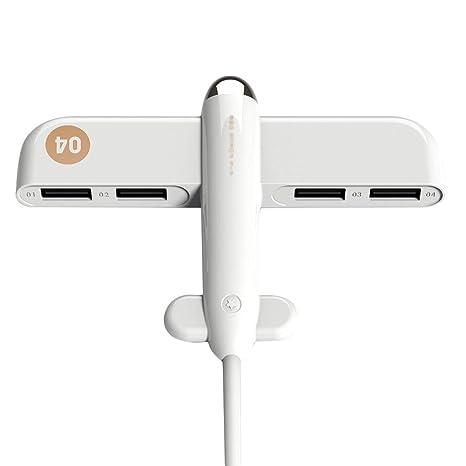 Qinlee - Adaptador USB 3.0 con Forma de avión, con 4 Puertos ...