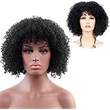 """Afro Kinkys Curly Wig African American Mid Length Long Jumbo for Black Women Cosplay Costume 14.5"""" Black"""