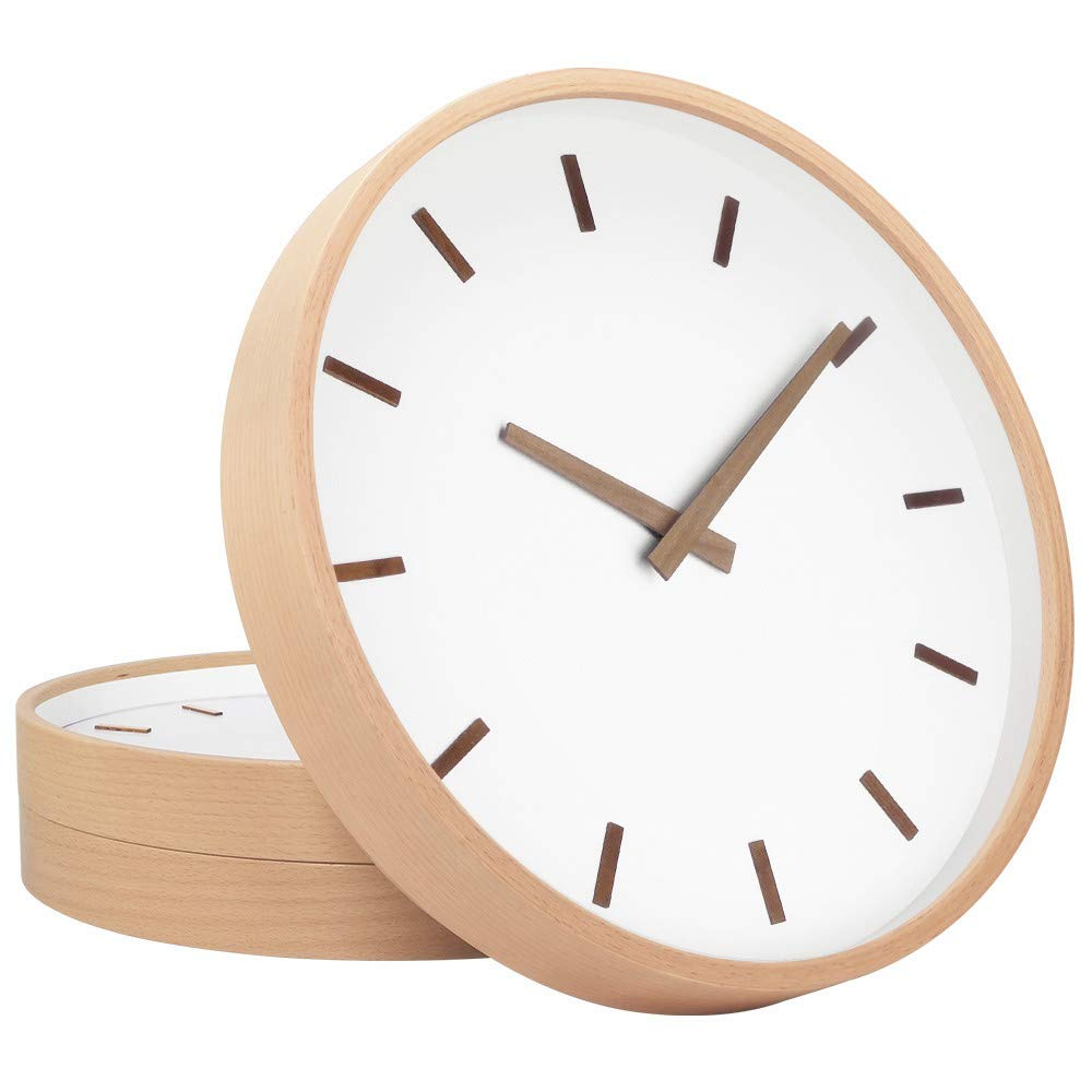 TXL Wall Clock Wood 12'' Large Silent Non Ticking Wooden Wall Clocks with Stereo Scale, Battery Operated Round Digital Easy to Read Vintage Wooden Wall Clocks for Home/Office/School Clock(3)
