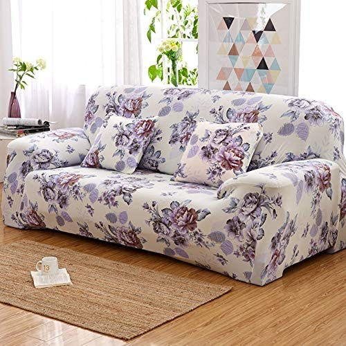 RQF2 Stretch Sofa Cover Loveseat Couch Slipcover, Machine Washable, for Chair Loveseat Sofa Elastic Furniture Protector Polyester Spandex Fabric,4Seater