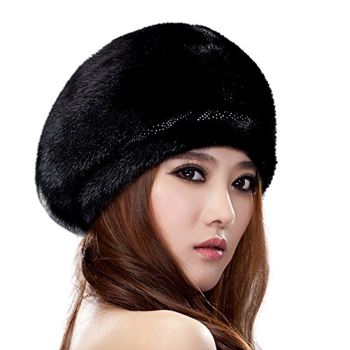 URSFUR Ladie's Mink Full Fur Beret Hats (Black)