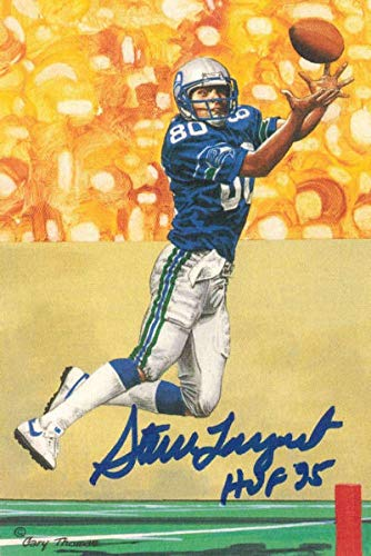(Steve Largent Autographed Seattle Seahawks Goal Line Art Card Blue HOF 12066 - NFL Autographed Football Cards)