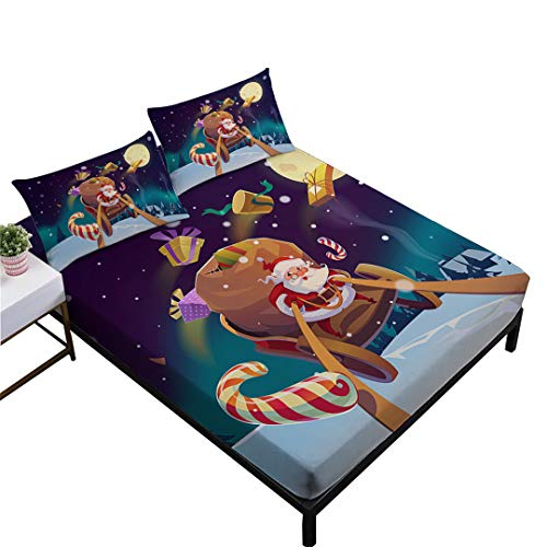 Rhap Sheets Twin Size,Cartoon Christmas Twin Size Bedding Sheets Set of 3 Pieces,Santa Claus Sleigh Gift Printed Twin Size Fitted Sheet Set,for Boys Girls Bedroom Decoration