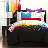 Colorful Comforter Set 3 Piece Kids Full / Queen Size Vibrant Fun Bright Teens Children Bedroom, Adorable Rainbow Abstract Paint Boys Girls Bedding Set, Soft White Black Multi Color Beddings Shams