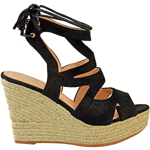 Fashion Thirsty Womens Espadrille Wedge Sandals Strappy Summer Lace Up Platform Shoes Size Black Faux Suede MyaAG