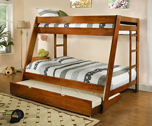 HOMES: Inside + Out 2 Piece ioHOMES Perino Bunk Bed and Trundle Set, Twin/Full, Oak