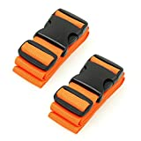 BlueCosto Luggage Straps Suitcase Baggage Carry-on Bag Belt, 2-Pack, Orange