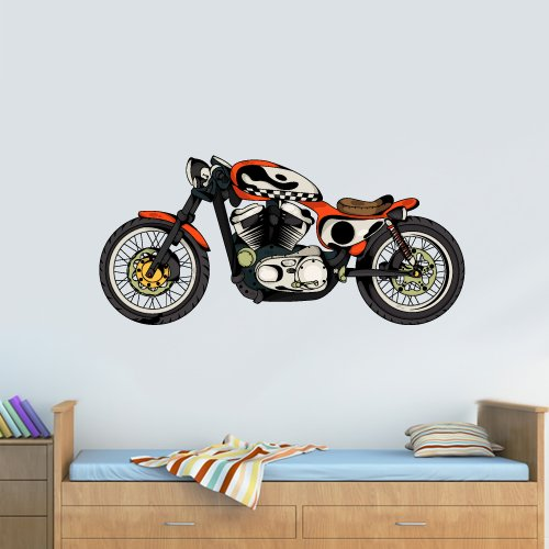 Full Color Wall Decal Mural Sticker Decor Art Poster Gift Bike Motocycle Moto Cafe Racer Indian Retro (Col691)