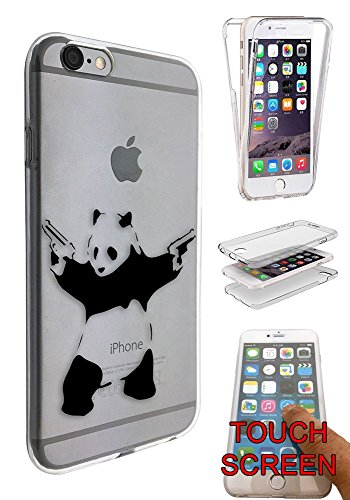 C0072 - Banksy Graffiti Art Shooting Panda Design iphone 6 6S 4.7'' Fashion Trend Complete 360 Degree protection Coque Gel Rubber Silicone protection Case Coque