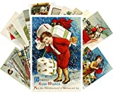 Vintage Christmas Greeting Cards 24pcs Funny Lovely Kids Meet Christmas Reprint Antique Postcard Set