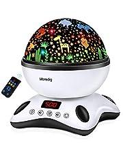 Moredig led-sterrenhemel projectorlamp, muziek nachtlampje ster lamp 360 graden rotatie + 12 rustgevende muziek + 8 romantische lampen, perfect voor kinderen, verjaardagen, Halloween enz. - blauw en wit