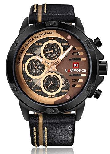 NAVIFORCE Mens Watches Waterproof 24 Hour Date Quartz Watch Man Leather Sport Wrist Watch Men Waterproof