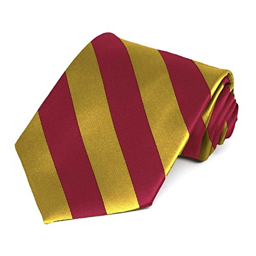 TieMart Crimson Red and Gold Striped (Crimson Necktie)
