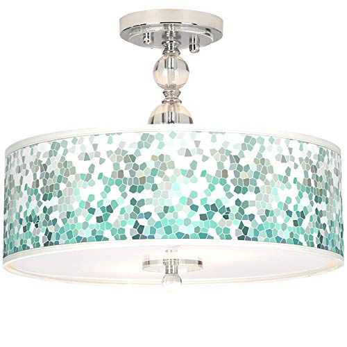 Luxe Modern Ceiling Light Semi Flush Mount Fixture Chrome Crystal 16