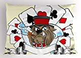 Lunarable Poker Tournament Pillow Sham, Cartoon Style Bulldog with Playing Cards Ribbon Rich Winner Image Print, Decorative Standard Size Printed Pillowcase, 26 X 20 Inches, Multicolor