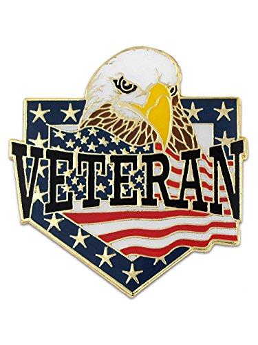 PinMart Veteran American Flag Eagle Patriotic Enamel Lapel Pin ()