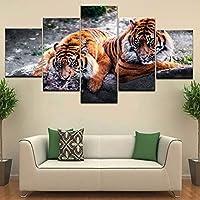 zxddzl Due Tigri Mentire sulle Rocce Animale 5 Pannello HD Impronta Muro Manifesti Tela Arte Dipingendo per Casa Soggiorno Decorazione