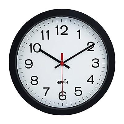 "Hippih 10"" Silent Quartz Decorative Wall Clock with Glass Cover Non-ticking Digital"
