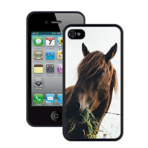Pferd | Handgefertigt | iPhone 4 4s | Schwarze Hülle