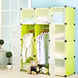 DIY Furniture 12 Cube Multi-Purpose Waterproof Wardrobe/Closet Storage for Clothes Shoes Books Toys with Doors 111x37x147 cm (Apple Green)