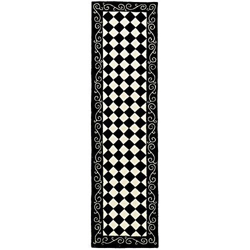 Safavieh Chelsea Collection HK711A Hand-Hooked Black and Ivory Premium Wool Runner (2'6