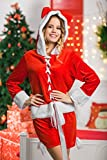Adult Women Miss Santa Girl Hooded Costume Mrs Claus Role Play Christmas Dress Up