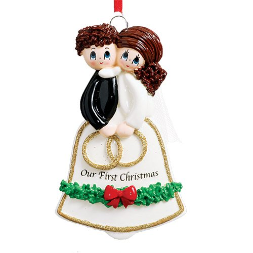 Personalized Wedding Bell Couple Christmas Ornament - Just Married Brunette Newlyweds with Rings in Ceremony - Brown Hair Bride and Groom 1st Romantic in Love Our First I do Gift - Free Customization -